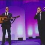 Tillsonburg Auctioneer John McKenzie hams it up with Canadian Astronaut Chris Hadfield at the St. Joseph's Hospital Tribute Dinner & Fundraiser on September 18, 2014.  The autographed guitar & guitar pick that Chris used on the Space Station was auctioned for an incredible $35,000